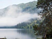 Névoa no lago da montanha Imagem de Stock