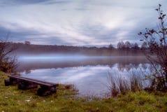 Névoa no lago na noite Imagens de Stock Royalty Free