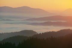 Névoa no vale da montanha Imagens de Stock Royalty Free