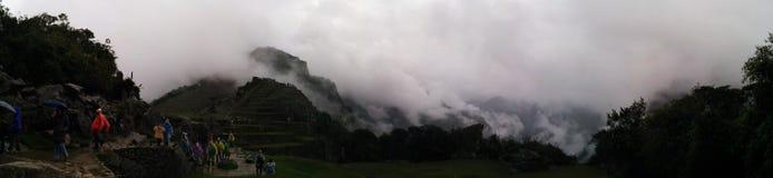 Névoa panorâmico do picchu de Machu Fotografia de Stock