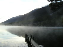 Névoa quieta da manhã no lago foto de stock