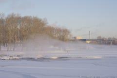 Névoa sobre a lagoa da cidade no inverno Fotografia de Stock Royalty Free