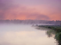 Névoa sobre o lago Fotografia de Stock Royalty Free