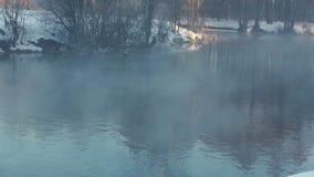 Névoa sobre o rio na névoa da floresta do inverno sobre o rio do inverno Rio no parque do inverno filme