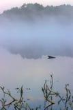 Névoa sobre o rio O sol levanta-se acima das nuvens do mar e do ouro Imagens de Stock Royalty Free