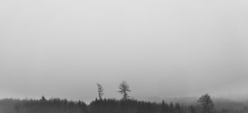 Névoa sobre a paisagem panorâmico Foto de Stock Royalty Free