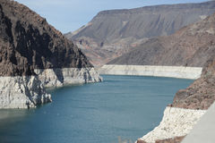 Níveis da seca da barragem Hoover em Nevada Fotografia de Stock Royalty Free