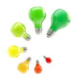 Níveis do uso eficaz da energia como bulbos Fotos de Stock