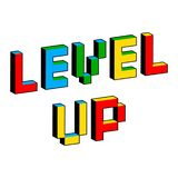 Nível acima do texto no estilo de jogos de vídeo de 8 bits velhos Letras coloridas vibrantes do pixel 3D Cartaz digital criativo  ilustração stock