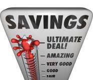 Nível do negócio do negócio do disconto da venda da loja do termômetro das economias ilustração do vetor