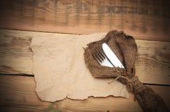 Nóż i rozwidlenie fotografia stock
