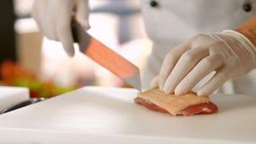Nóż robi cięciom na mięsie zbiory wideo