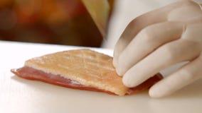 Nóż robi cięciom na mięsie zdjęcie wideo
