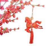Nó chinês do cavalo no fundo branco Imagens de Stock Royalty Free
