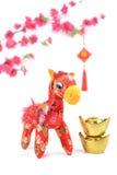Nó chinês do cavalo no fundo branco Fotos de Stock Royalty Free