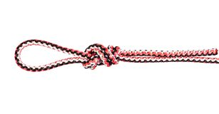 Nó de laço do cirurgião amarrado na corda sintética cortada foto de stock royalty free