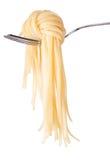 Nó do espaguete na forquilha Fotografia de Stock