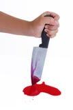 Nóż i krew Fotografia Royalty Free