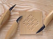 nóż woodcarving Obraz Royalty Free