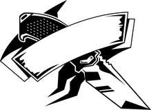 Nóż z sztandarem Zdjęcia Royalty Free