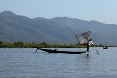 Nóg rowers od Inle jeziora w Myanmar Zdjęcia Royalty Free