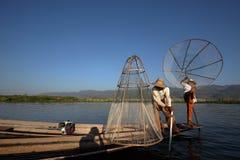 Nóg rowers od Inle jeziora w Myanmar Obraz Royalty Free