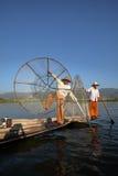 Nóg rowers od Inle jeziora w Myanmar Obrazy Royalty Free