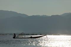 Nóg rowers od Inle jeziora w Myanmar Obrazy Stock