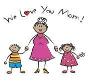 Nós amamo-lo mamã - tan a pele ilustração stock