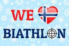 Nós amamos o cartaz do vetor do biathlon Bandeira nacional de Noruega Símbolo do coração em cores norueguesas tradicionais Boa id ilustração stock