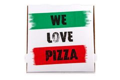 Nós amamos a pizza imagens de stock royalty free