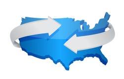 Nós conceito em mudança do mapa Fotografia de Stock