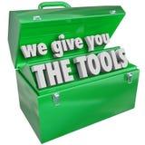 Nós damos-lhe a caixa de ferramentas das ferramentas habilidades valiosas serviço Foto de Stock