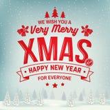 Nós desejamos-lhe muito o selo do Feliz Natal e do ano novo feliz, etiqueta ajustada com azevinho, baga, árvore de Natal, sino ilustração do vetor
