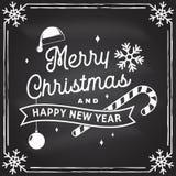 Nós desejamos-lhe muito o selo do Feliz Natal e do ano novo feliz, etiqueta ajustada com flocos de neve, árvore de Natal, present ilustração royalty free