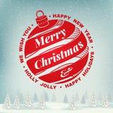 Nós desejamos-lhe muito o selo do Feliz Natal e do ano novo feliz, etiqueta ajustada com sino de Natal Ilustração do vetor ilustração do vetor