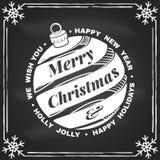 Nós desejamos-lhe muito o selo do Feliz Natal e do ano novo feliz, etiqueta ajustada com sino de Natal Ilustração do vetor ilustração royalty free