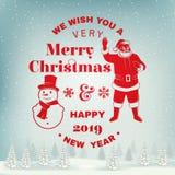 Nós desejamos-lhe muito o selo do Feliz Natal e do ano novo feliz, a etiqueta ajustada com snowmans e a Santa Claus Vetor ilustração do vetor