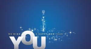 Nós desejamos-lhe um fundo do azul da prata do ano novo feliz ilustração do vetor