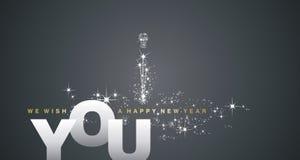 Nós desejamos-lhe um fundo do preto da prata do ano novo feliz ilustração royalty free