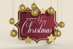 Nós desejamos-lhe um projeto do molde do Feliz Natal 3D que ilustra Fotos de Stock Royalty Free