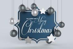 Nós desejamos-lhe um projeto do molde do Feliz Natal 3D que ilustra Imagens de Stock