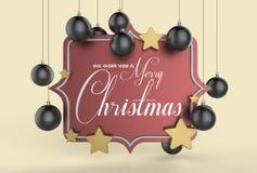 Nós desejamos-lhe um projeto do molde do Feliz Natal 3D que ilustra Imagem de Stock Royalty Free