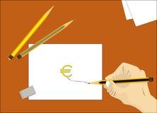 Nós desenhamos o euro Imagens de Stock
