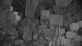 nós e fios cúbicos abstratos de rede 4K video estoque