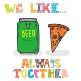 Nós gostamos Sempre junto? Caráteres bonitos da cerveja e da pizza f ilustração stock