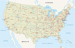 Nós mapa da estrada nacional Fotografia de Stock