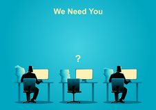 Nós precisamo-lo, vaga de trabalho, recrutamento novo, estagiário, ocupação, ilustração stock
