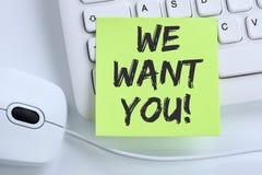 Nós queremo-lo trabalhos, busin de trabalho da carreira dos empregados do recrutamento do trabalho fotos de stock