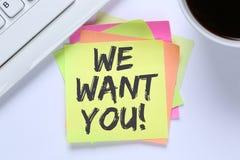 Nós queremo-lo trabalhos, mesa de trabalho da carreira dos empregados do recrutamento do trabalho fotos de stock